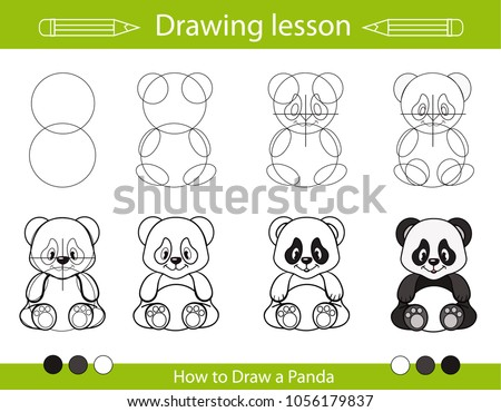 Drawing Lesson Children How Draw Panda Stock Vector Royalty Free