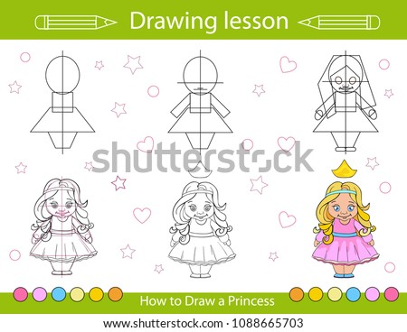 Drawing Lesson Children How Draw Cartoon Stock Vector Royalty Free