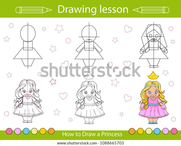 Drawing Lesson Children How Draw Cartoon Stock Vector Royalty