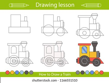 Drawing lesson for children. Tutorial drawing a cartoon train. Step by step repeats the picture. Actives worksheets. Kids funny activity art page. Vector illustration.