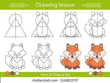 Drawing lesson for children. Tutorial drawing a cute fox. Step by step repeats the picture. Actives worksheets with cartoon animals. Kids funny activity art page. Vector illustration.