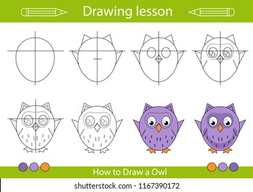 Drawing lesson for children. Tutorial drawing a cute owl. Step by step repeats the picture. Actives worksheets with cartoon animals. Kids funny activity art page. Vector illustration.