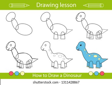 Drawing lesson for children. Tutorial drawing a cute dinosaur. Step by step repeats the picture. Actives worksheets with cartoon animals. Kids funny activity art page. Vector illustration.