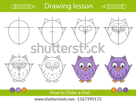 Drawing Lesson Children Tutorial Drawing Cute Stock Vector Royalty