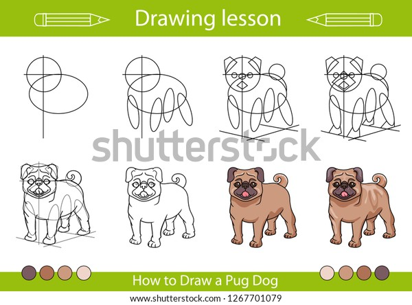 Drawing Lesson Children Tutorial Drawing Cute Stock Vector