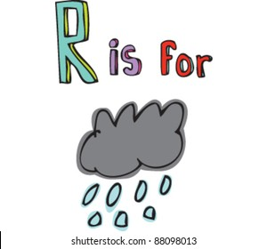 Drawing of Letter R is for rain cloud