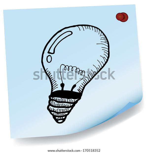drawing of light bulb on sticky paper vector
