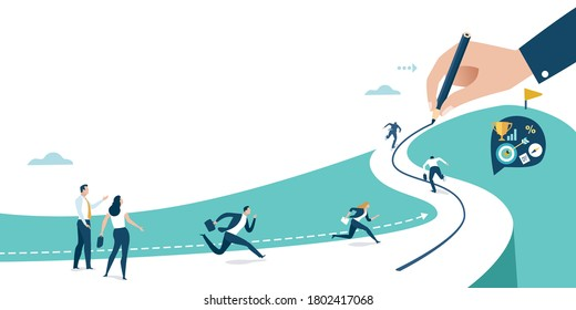 Drawing a line to the goal. Businessman's hand draws a line leading to the business success. Business vector illustration