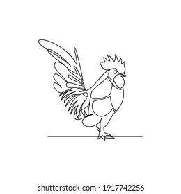 Drawing of a line of standing chicken animals. Line drawing of a standing chicken animal. Templates for your designs. Vector illustration