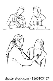 Drawing lines at the doctor examined the patient as a vector.