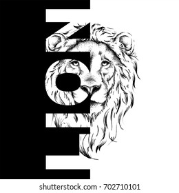 Drawing of a lion's head. Graphic design of the cover. Template for registration. Vector illustration
