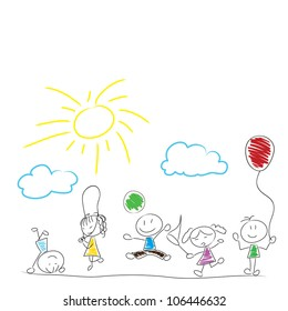 drawing little children doodle activity outdoor