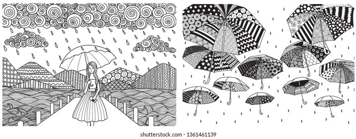 Drawing little girl holding umbrella while it's raining walkting on the bridge with seascape background and flying umbrellas set for adult coloring book pages. Vector illustration