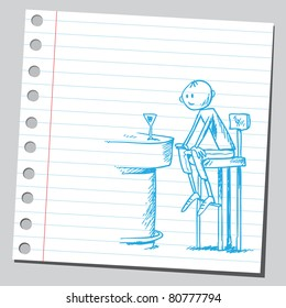 Drawing of a man in the bar