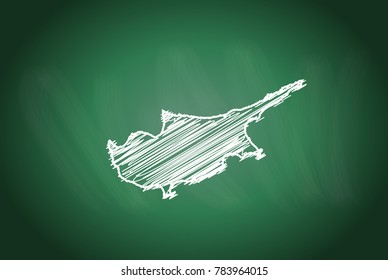 Drawing map on blackboard of cyprus. drawn on chalkboard with scribbled map of cyprus. can be use for education. vector illustration.