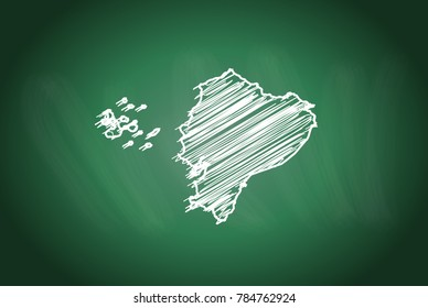 Drawing map on blackboard of ecuador. drawn on chalkboard with scribbled map of ecuador. can be use for education. vector illustration.