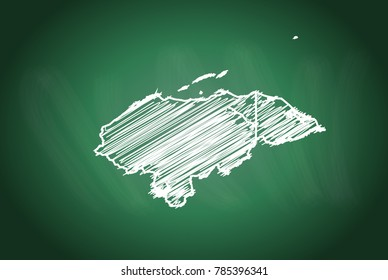 Drawing map on blackboard of honduras. drawn on chalkboard with scribbled map of honduras. can be use for education. vector illustration.