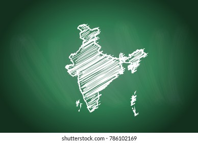 Drawing map on blackboard of india. drawn on chalkboard with scribbled map of india. can be use for education. vector illustration.