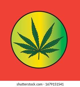 drawing of marijuana leaf inside a circle