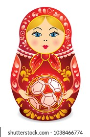 Drawing of a Matryoshka in red and yellow holding a soccer ball in her hands. Matryoshka doll also known as a Russian nesting doll, Stacking dolls, or Russian doll, is a set of wooden dolls