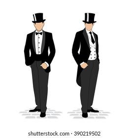 drawing men in smokinge.elegantny gentleman in a fashionable suit.