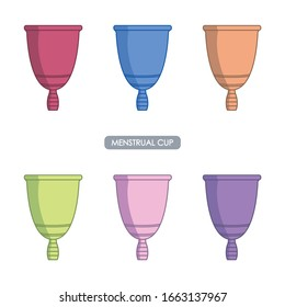 Drawing of a menstrual cup with different colors. Simple icon of women's hygiene. Color and line icon. Editable vector.