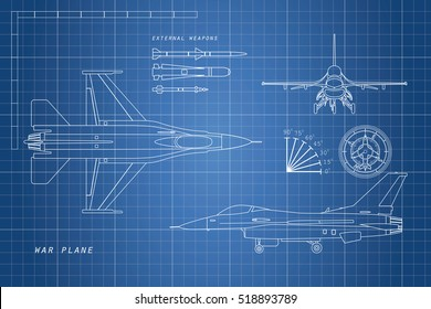 Drawing military aircraft. Top, side, front views. War plane with external weapons. Vector illustration.