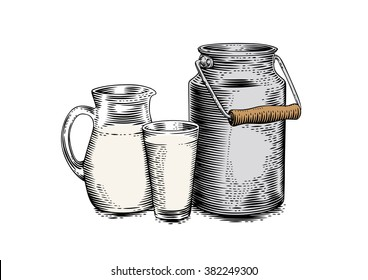 Drawing of milk can, jug and glass of milk on the white