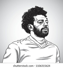 Drawing of Mo Salah Vector Portrait Cartoon Caricature Illustration. June 5, 2018