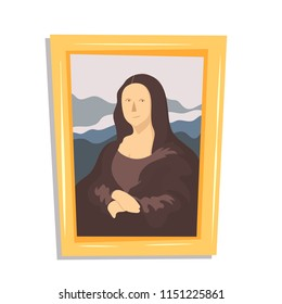 a drawing of Mona Lisa painting in a cartoon flat style