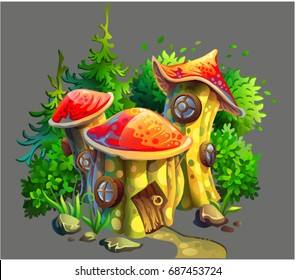 Drawing of a mushroom house in the forest. Vector cartoon illustration.
