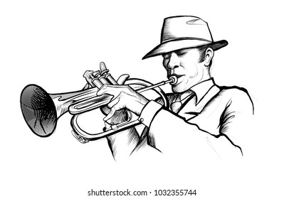 drawing of a musician playing trumpet - vector illustration