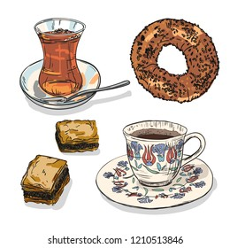 Drawing national turkish food with coffee, tea cup, simit and baklava. Hand drawn traditional turkey bavarages and bagels.