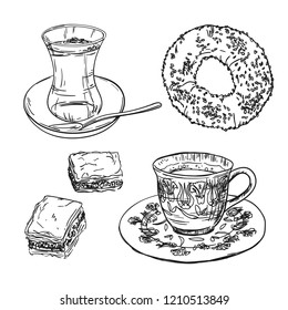 Drawing national turkish food with coffee, tea cup, simit and baklava. Sketch with traditional turkey bavarages and bagels.