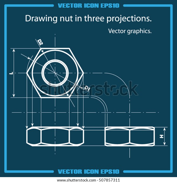 Drawing Nut Three Projection Icon Vector Stock Vector (Royalty Free