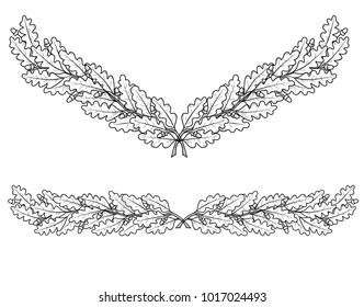 drawing of oak branches in the form of a curb