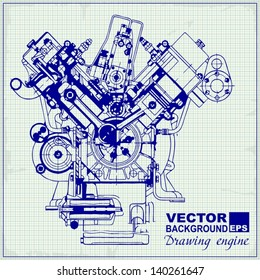 Car engine blueprint images stock photos vectors shutterstock drawing old engine on graph paper vector background malvernweather Choice Image