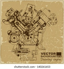 Drawing old engine on graph vintage old paper.Vector background. Plus two objects  cracked surface.Grunge effects can be removed..