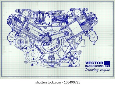 Drawing old engine on graph paper. Vector background.