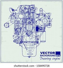 drawing old engine on graph paper stock vector royalty free rh shutterstock com Simple Engine Diagram Simple Engine Diagram