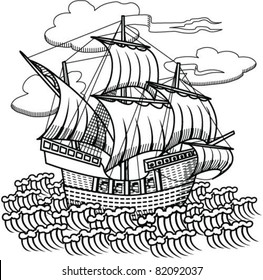 drawing old sailing ship, designed as woodcut 1
