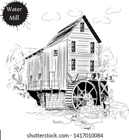 Drawing in the old style of the water mill for designs and menus. Old water mill sketch
