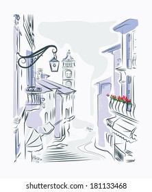 drawing old town street