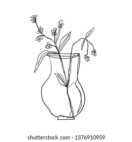 drawing one continuous line of a vase with a flower isolated on white background. Set of hand drawn doodle sketches