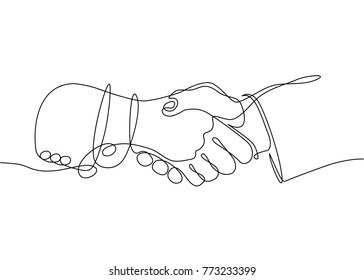 Drawing one line of handshake of businessmen at a meeting. Hands sleeves suit jacket.