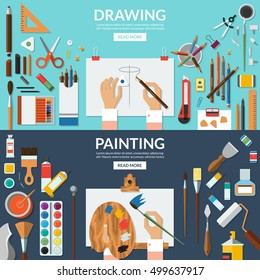 Drawing and painting conceptual banners set. Fine art and creative process. Art supplies - easel, palette, paper, brushes, pens, pencils, paints, watercolor etc. Top view. Flat vector illustrations
