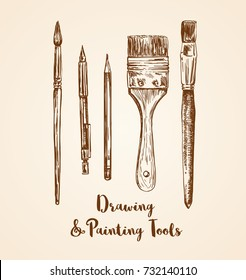 drawing and painting tools hand drawn vector illustration. pencils and brushes sketches