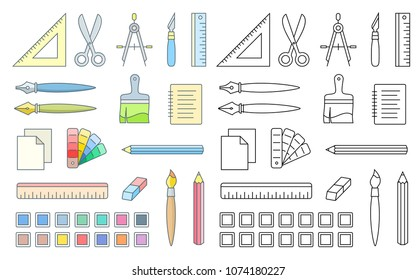 Drawing and painting tools for workshop. Vector icons of office supplies.