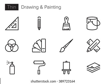 Drawing and painting Vector icons set Thin line outline