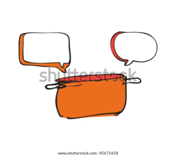 drawing of a pan with speech bubbles